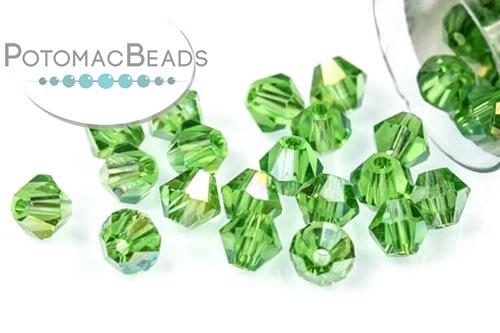 Potomac Crystal Bicones - Emerald AB - 4mm - Bag - Pack of 120