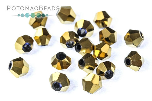Potomac Crystal Bicones - Metallic Gold Iris - 4mm - Bag - Pack of 120