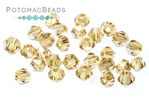 Potomac Crystal Bicones Gold Champagne AB 3mm