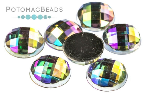 Resin Cab Faceted Crystal AB 12mm