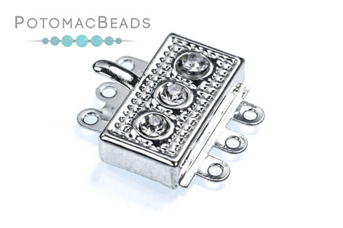 Silver Plated Box Clasp w/ 3 Crystals & 3 loops