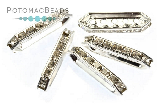 Crystal Spacer - Silver 5 Strand