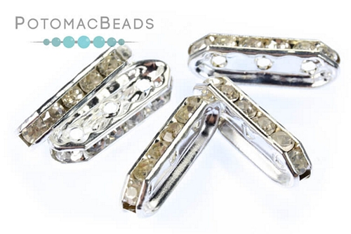Crystal Spacer - Silver 3 Strand