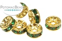 Crystal Spacer Emerald Gold 6mm