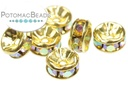 Crystal Spacer Crystal AB Gold 6mm