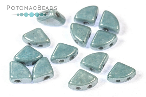PieDuo Beads - White Baby Blue Luster