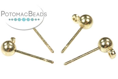 Gold Plated Ball Post 4mm