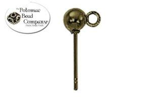 Antique Brass Ball Post 4mm