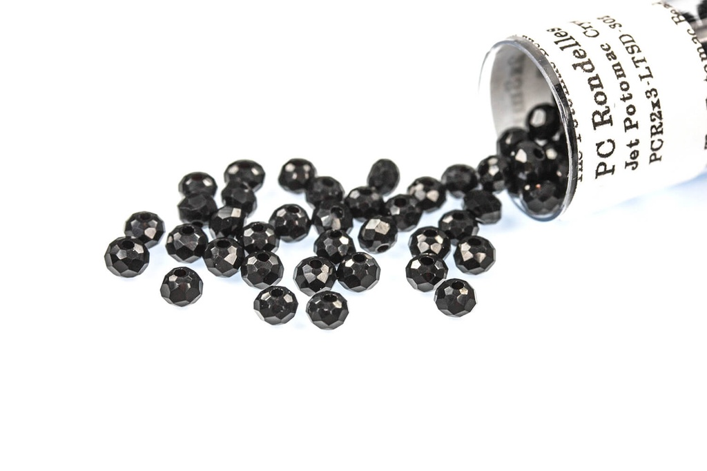 Potomac Crystal Rondelle Beads - Jet - 2x3mm - Bag - Pack of 150