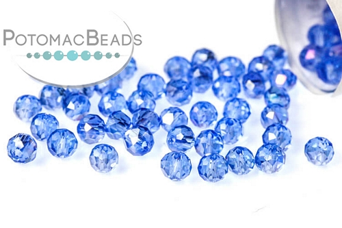 Potomac Crystal Rondelle Beads - Light Sapphire AB - 2x3mm - Bag - Pack of 150
