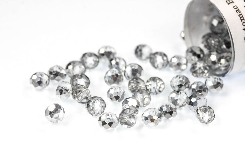 Potomac Crystal Rondelle Beads - Half Silver - Bag - Pack of 150