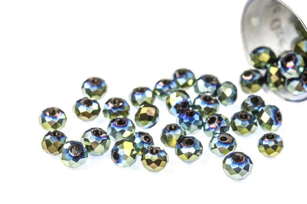 Potomac Crystal Rondelle Beads - Metallic Green Iris - 2x3mm - Bag - Pack of 150