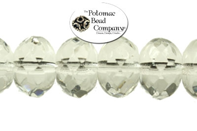 Czech Faceted Rondelle Crystal 7x1