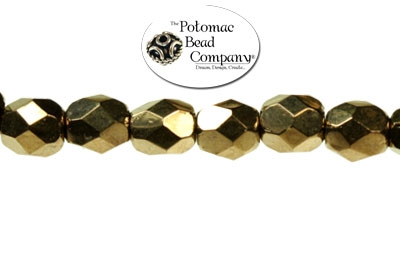Czech Fire Polished Faceted Round Bronze 4mm