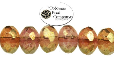 Czech Faceted Rondelle Amethyst Brown I