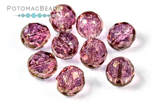 Czech Faceted Round Pink Luster