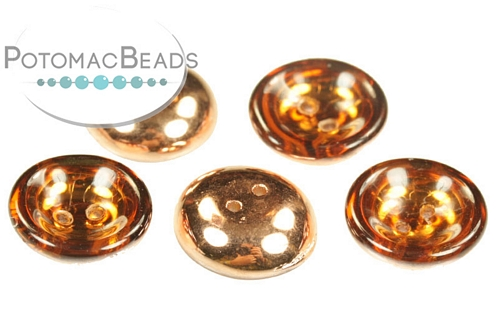 Cup Buttons - Topaz Capri Gold - 14mm - Pack of 5 - Bag - Pack of 5