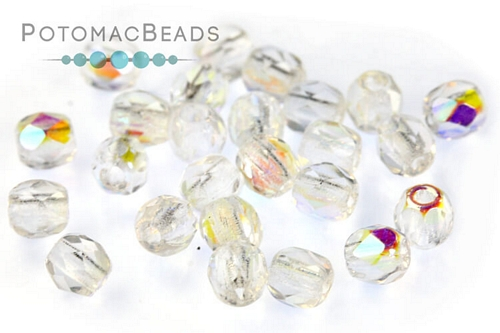 Czech Faceted Round Crystal AB