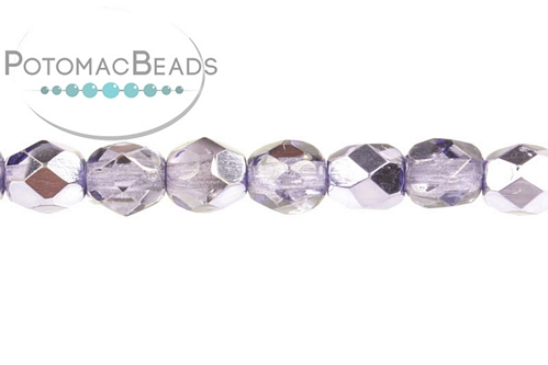 Czech Faceted Round Violet Metall