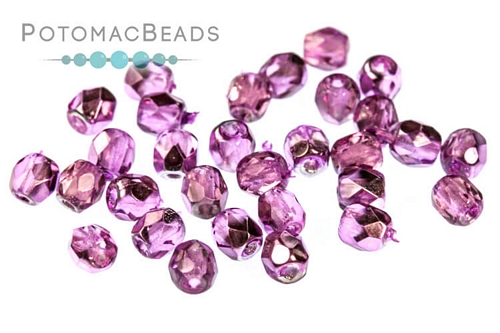 Czech Faceted Round Purple Metall