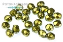 Czech Faceted Round Metal Green A
