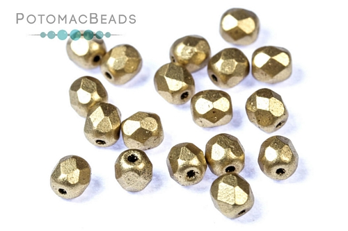 Czech Faceted Round Aztec Gold