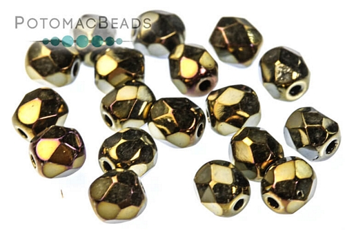 Czech Faceted Round Jet Brown Iri