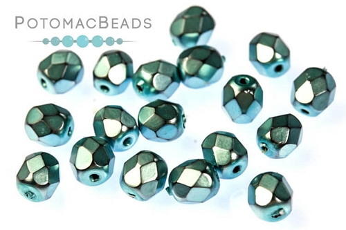 Czech Faceted Round Metal Comet