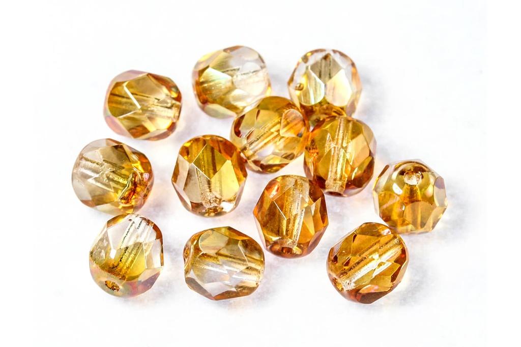 Czech Fac Round Crystal Apricot Medium 6mm