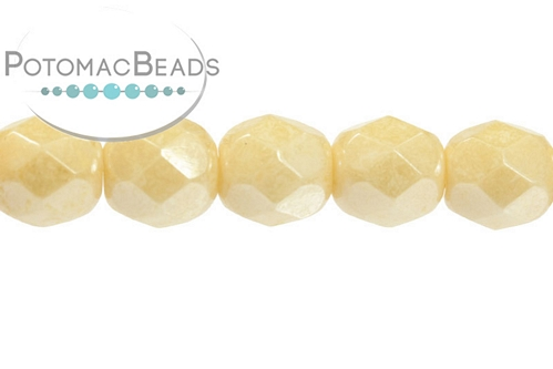 Czech Fac Round White Champagne Luster 6mm