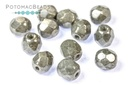 Czech Fac Round White Grey Luster 6mm