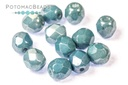 Czech Fac Round White Baby Blue Luster 6mm