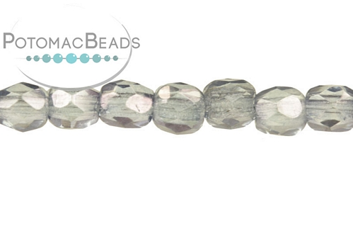 Czech Faceted Round 3mm White Baby Blue Luster