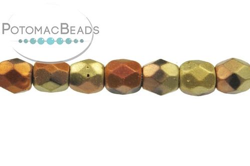 Czech Faceted Round Beads - Jet Matted California Gold Rush - 3mm - Bag - Pack of 100
