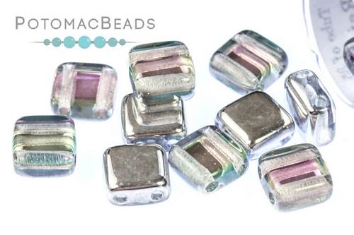 Czech Tile Crystal Silver Rainbow