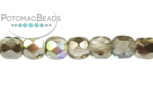Czech Faceted Round Crystal Graphite Rainbow