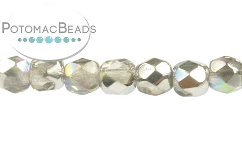 Czech Faceted Round Crystal Silver Rainbow 3mm