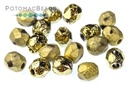 Czech Faceted Round Etched Amber Full