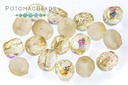 Czech Faceted Round Etched Yellow Rainbow