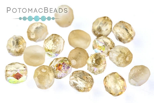 Czech Faceted Round Etched Lemon Rainbow