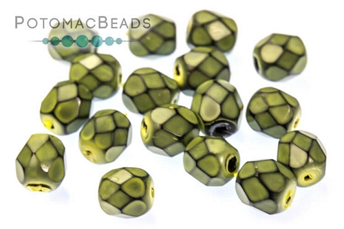 Czech Faceted Round Snake Spruce 4mm
