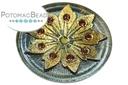 Czech Cab Vitrail Studded Gold Flower