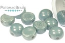 2-Hole Cabochon - White Baby Blue Luster
