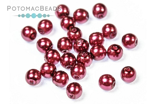 Czech Pearls Dark Magenta Shiny