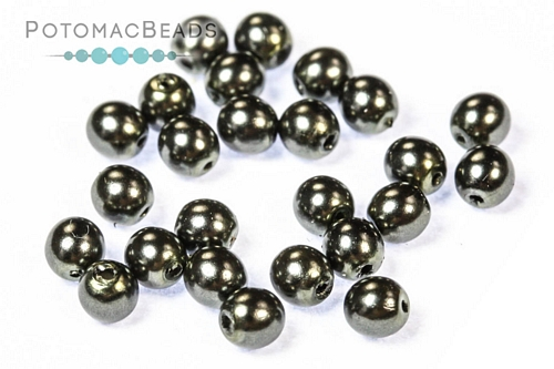 Czech Pearls Charcoal Shiny