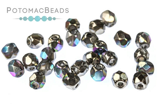 Czech Faceted Round Glittery Graphite 3mm