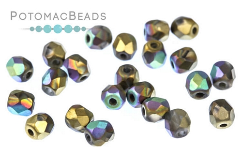 Czech Faceted Round Glittery Matted Amber