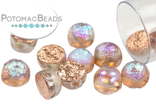 2-Hole Cabochon - Etched Copper Rainbow