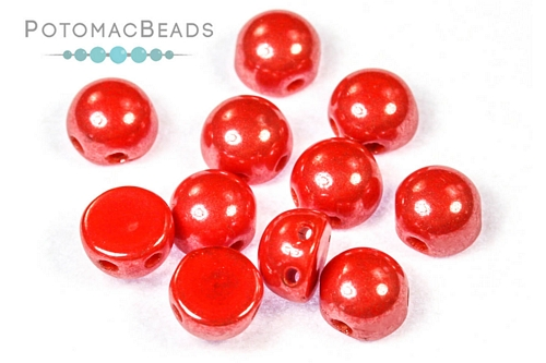 2-Hole Cabochon - Opaque Red Shimmer