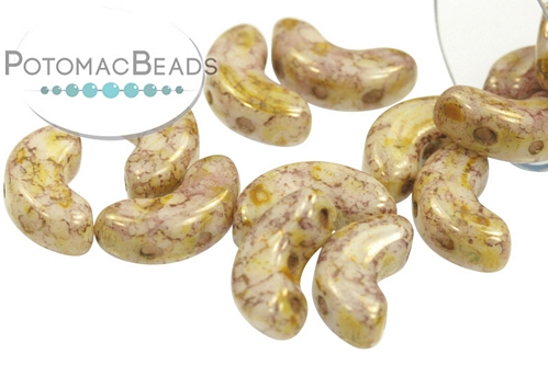 Arcos Par Puca Beads - White Lila Gold Luster (Opaque Mix Rose/Gold Ceramic) - 8.3g Tube - Pack of 35